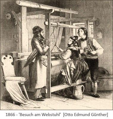 Stahlstich: Herr mit Schirm unterm Arm plaudert mit Paar am Webstuhl - 1866