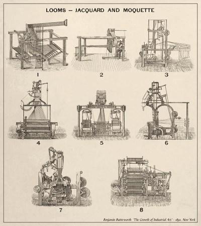 Litho: Entwicklung der Webstühle (Tafel 3) - 1892, USA