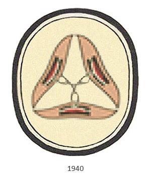 Gewerbezeichen: in Oval 3 mit Fäden verbundene Weberschiffchen als Dreieck - 1940