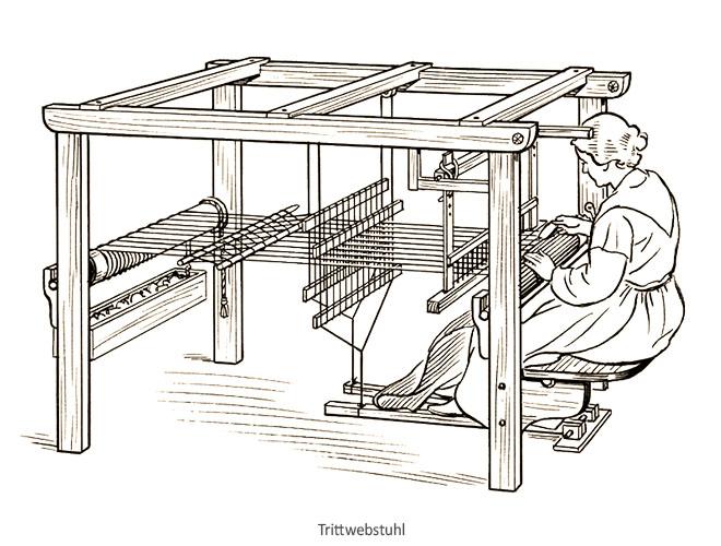 Federzeichnung: Frau an Trittwebstuhl arbeitend - 20.Jh, USA