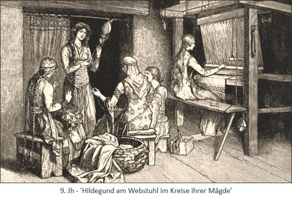 Zeichnung: Hildegund am Webstuhl im Kreise ihrer Mägde - 9. Jh