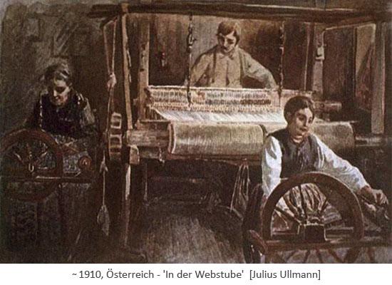 Gemälde: Mann am Webstuhl und 2 Frauen am Spinnrad ~1910, AT