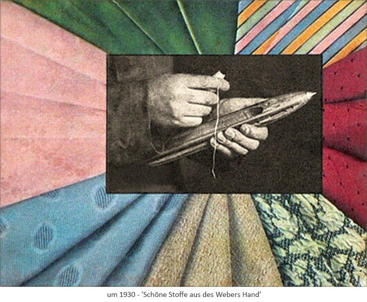 Farblitho: versschiedene Stoffe umrahmen Weberhände mit Webschiffchen ~1930