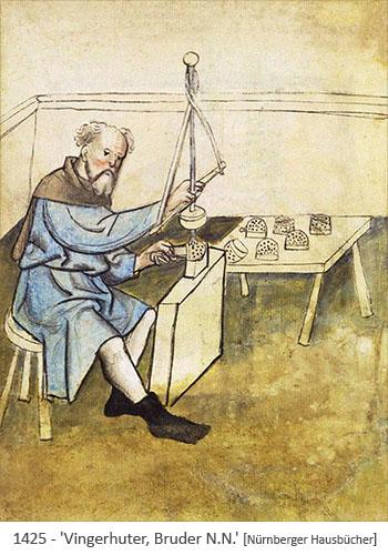 Buchmalerei: Vingerhuter, Bruder N.N., bei der Arbeit - 1425
