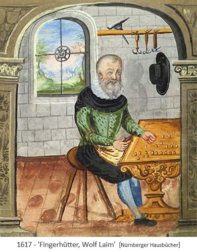 Buchmalerei: Fingerhütter, Bruder Wolf, bei der Arbeit - 1617