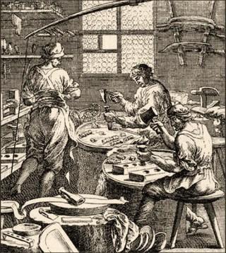 Kupferstich: drei in Werkstatt arbeitende Fingerhüter - 1698