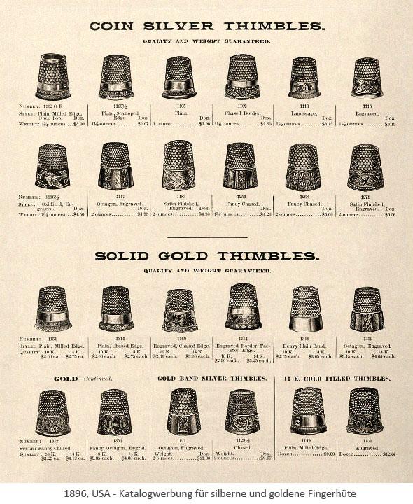 Katalogwerbung für silberne und goldene Fingerhüte - 1896, USA