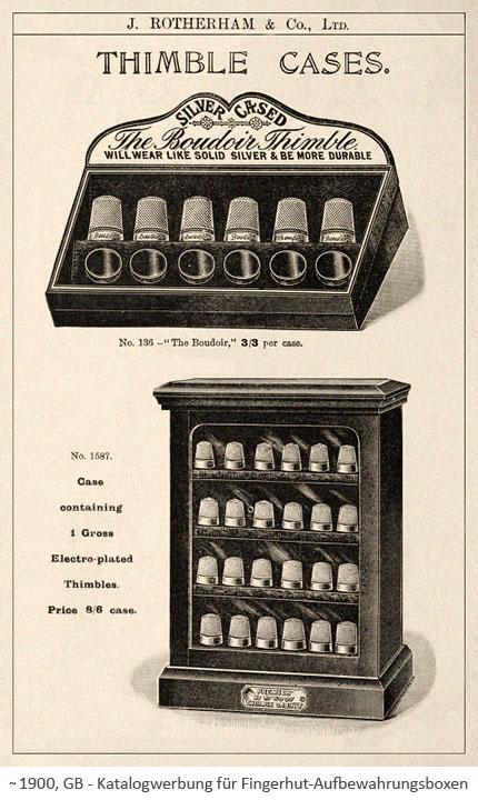 Katalogwerbung für Fingerhut-Aufbewahrungsboxen ~1900, GB