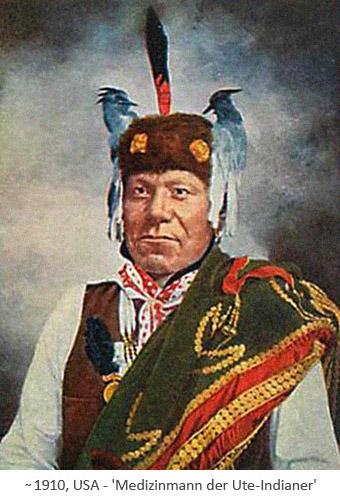 kolorierte Postkarte: Medizinmann der Ute-Indianer ~1910, USA