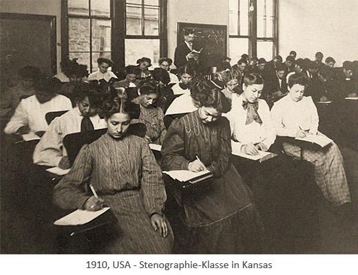 sw Foto: Frauen und Männer in Stenografie-Klasse - 1910, USA
