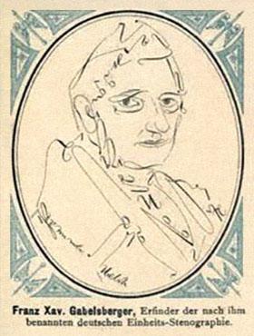 Postkarte: mittels Stenozeichen gefertigtes Portrait von Gabelsberger ~1900