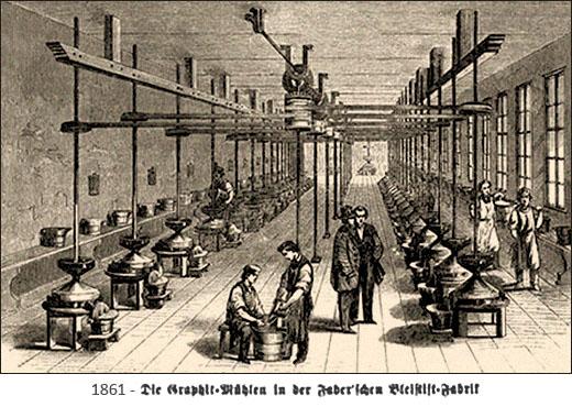 Zeichnung: Blick in Halle mit vielen Graphith-Mühlen - 1861