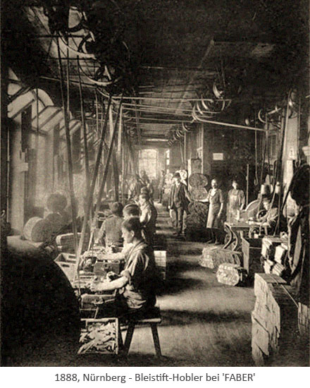 sw Foto: Blick in den Arbeitssaal der Bleistift-Hobler - 1888, Nürnberg