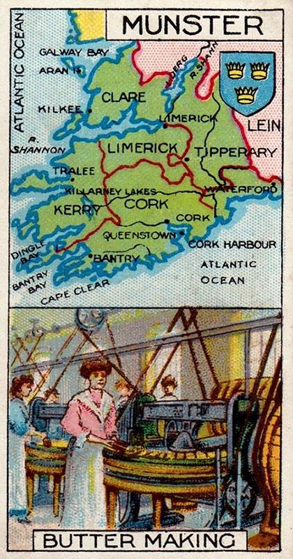 Sammelbild: Karte von Irland und Butter machen