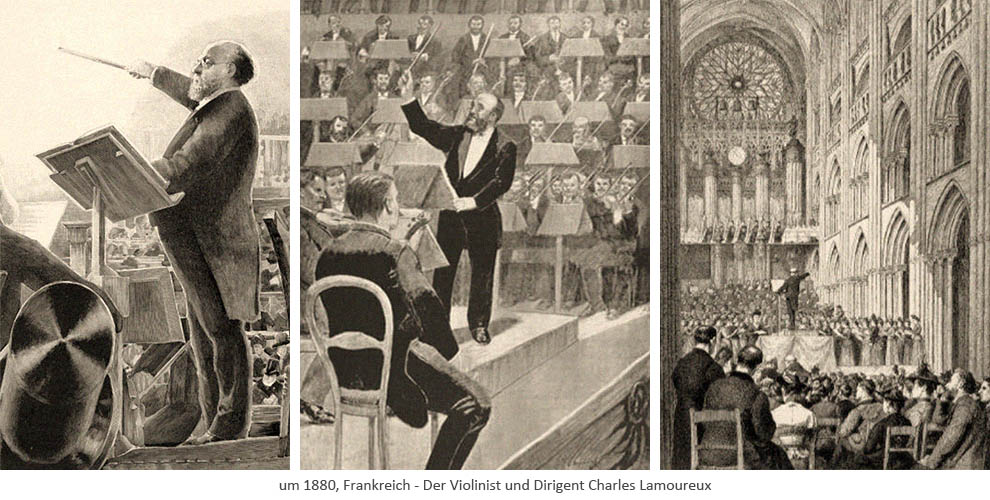 3 Kupfestiche: Charles Lamoureux beim Dirigieren ~1880, FR