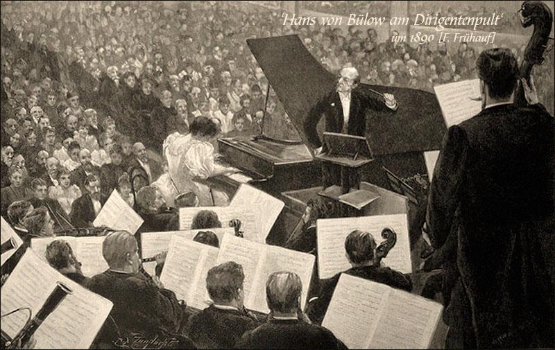 Holzstich: Hans v. Bülow dirigiert Konzertorchester ~1890