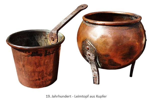 Farbfoto: Leimtopf aus Kupfer - 19. Jh