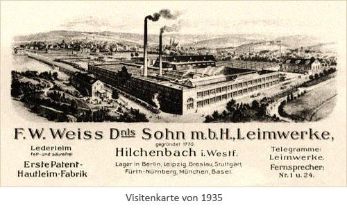 Visitenkarte: Leimwerke Weiss & Co - 1935, Westfahlen