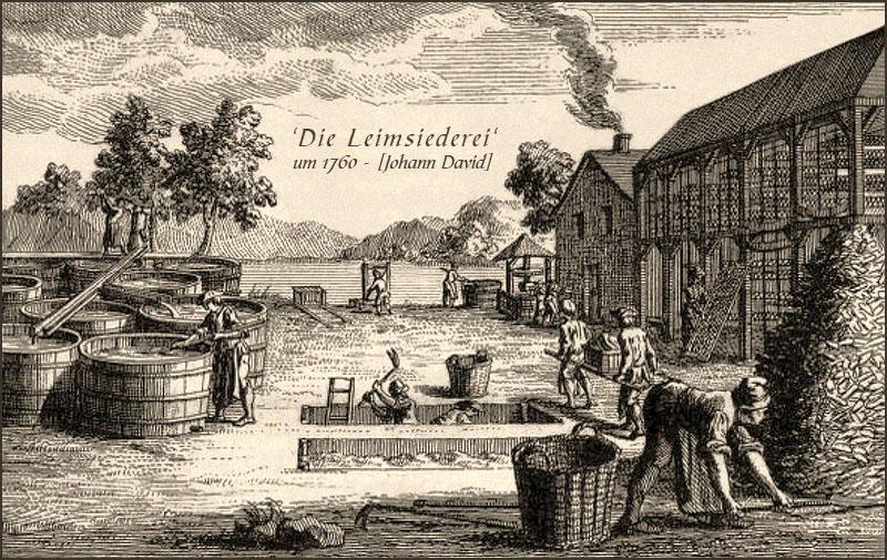 Kupferstich: mehrere Leimmacher bei verschiedenen Arbeitsschritten ~1760