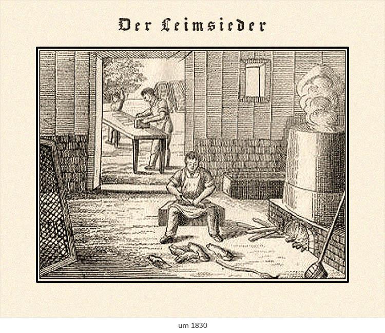Litho: Leimsieder bereitet neben Kessel Leimgut zum Verkochen vor ~1830