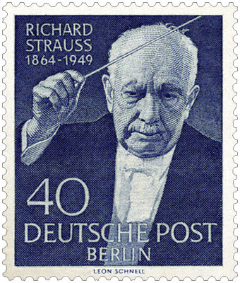 Briefmarke: Richard Strauss mit Taktstock - 1954