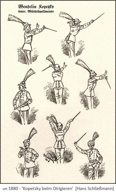 Zeichnung: Militärkapellmeister in 9 verschiedene Posen ~1880