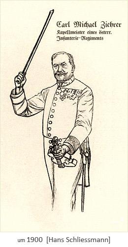 Zeichnung: Kapellmeister eines Infanterie-Regiments ~1900, AT