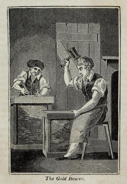 alter Stich: zwei Goldschläger beim Bearbeiten von Gold