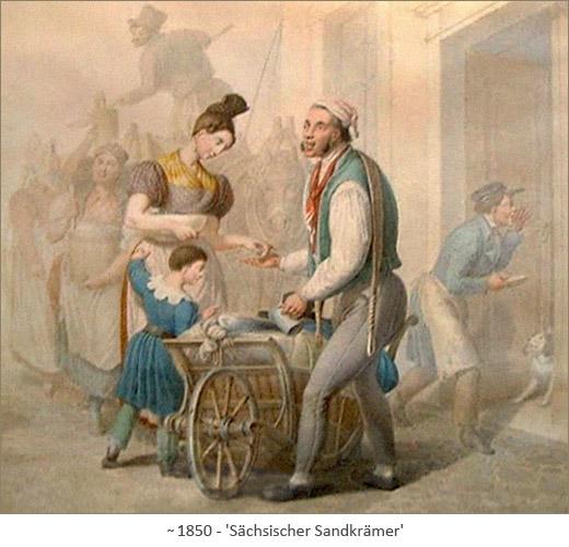 Farblitho: Sächsischer Sandkrämer ~1850