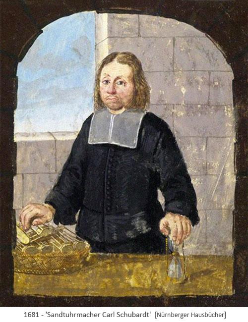 Buchmalerei: Sanduhrmacher Bruder Carl - 1681, Nürnberg