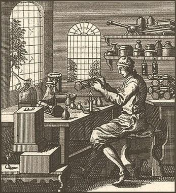 Kupferstich: Sanduhrmacher arbeitet am Tisch sitzend - 1694, NL