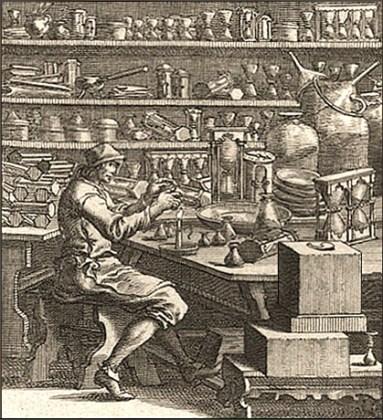 Kupferstich: Sanduhrmacher in seiner Werkstatt - 1698