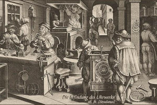 Kupferstich: verschieden Arbeitsschritte der Uhrmacherei - 16. Jh