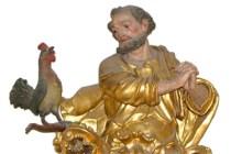 Skulptur: Petrus mit Hahn, Pfarrkirche Lermoos - Österreich