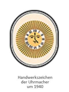 Farblitho: ovales Handwerkszeichen, mittig Uhr in Sonne ~1940