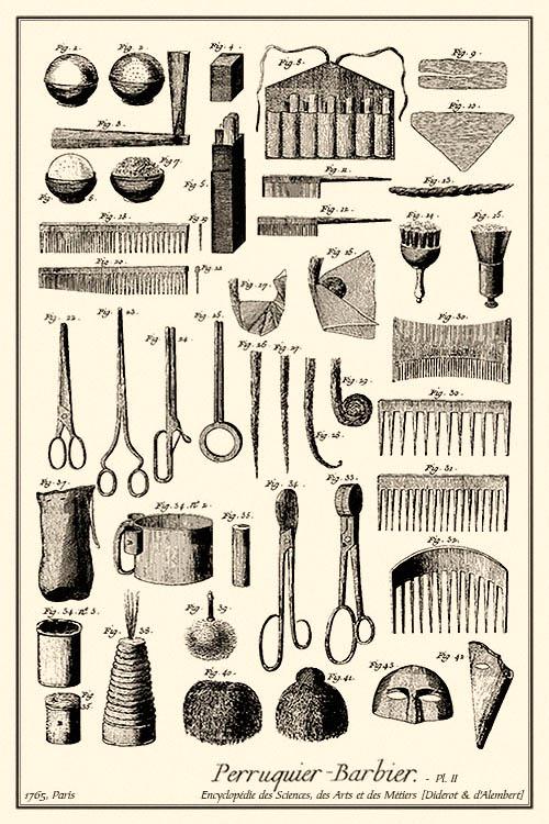 Kupferstich: diverse Perückenmacher-Utensilien - 1765, FR