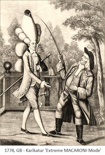 Litho: Dandy mit extemgroßer Perücke wird von Bürger gehänselt - 1774, GB