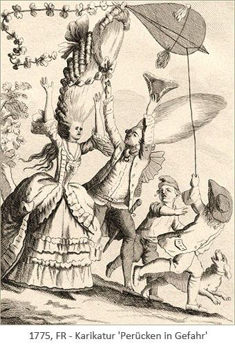 Litho: Knaben gefährden mit fliegendem Papierdrachen die Turmperücken eines Paares - 1775, FR