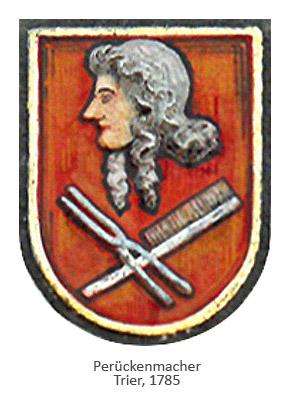 Putzrelief: Wappen mit Perücke tragendem Männerkopf, darunter Lockeneisen und Kamm gekreuzt - 1785, Trier