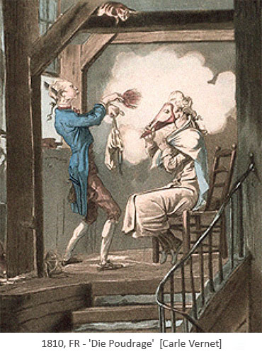 Farblitho: Perückenmacher stäubt Kunden mit Puder ein - 1810, FR