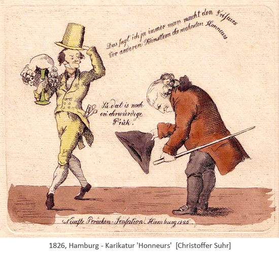 kolorierter Stich: 'Neueste Perücken-Sensation'- 1826, Hamburg