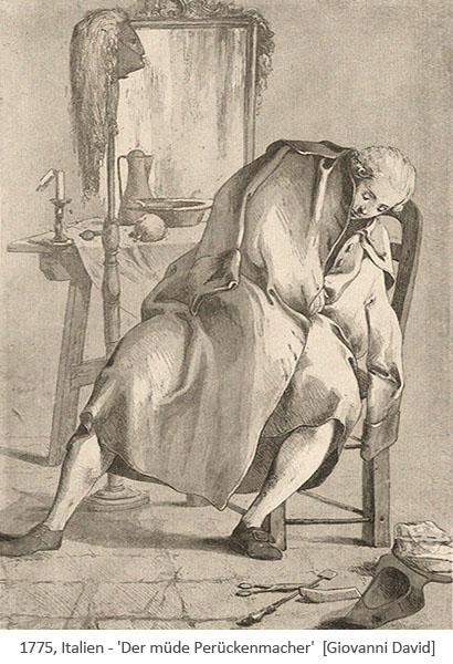 Litho: Perückenmacher zusammengesunken auf Stuhl eingeschlafen - 1889, IT