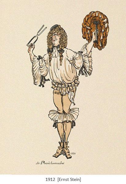 kolorierte Zechnung: Perückenmacher, der Lockeneisen und Perücke hochhält - 1912