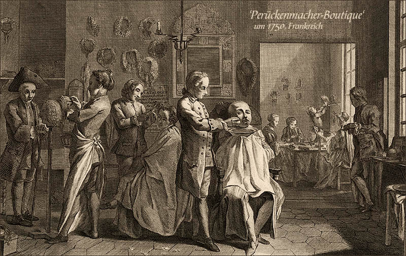 Kupferstich: mehrere Perückenmacher und Kunden in Werkstattladen ~1750, FR