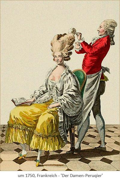Farblitho: Perückenmacher bearbeitet Hochperücke einer sitzenden Kundin ~1750, FR