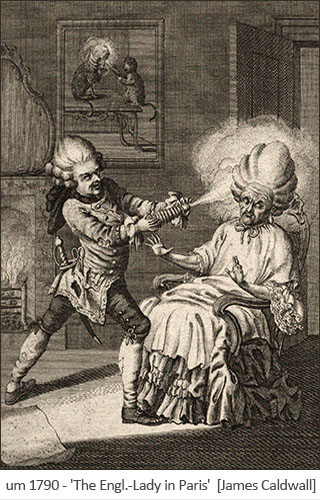 Holzstich: alte engl. Lady bekommt Perücke gepudert ~1790, Paris