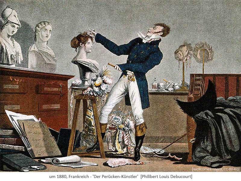 Farblitho: : Perückenmacher gestaltet schmuckvolle Damenperücken - 1868, FR