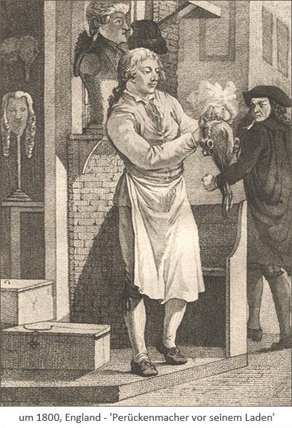 Holzstich: Perückenmacher pudert Perücke vor seinem Laden ~1800, GB