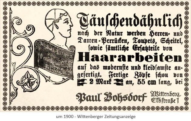 sw Druck: Wittenberg Zeitungsanzeige 'Perücken-Bohsdorf' ~1900