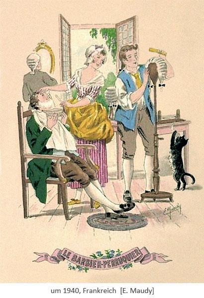 Farblitho: Frau balbiert Kunden während Mann Perücke auf Ständer frisiert ~1940, FR
